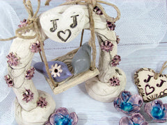 Swing wedding cake topper A pair of ceramic love birds swings under their love tree - Ceramics By Orly  - 3