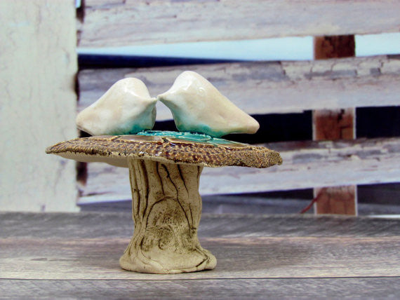 Rustic wedding cake topper Love birds Wedding cake topper - Ceramics By Orly  - 1