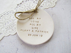 Personalized Wedding ring dish All my love All my life - Ceramics By Orly  - 3