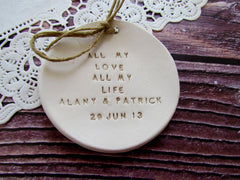 Personalized Wedding ring dish All my love All my life - Ceramics By Orly  - 4