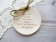 Personalized Wedding ring dish All my love All my life - Ceramics By Orly  - 5