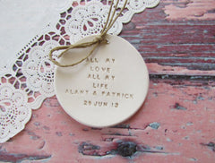 Personalized Wedding ring dish All my love All my life - Ceramics By Orly  - 1