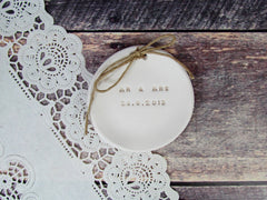 MR & MRS Wedding ring dish with your wedding date - Ceramics By Orly  - 2