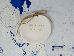 MR & MRS Wedding ring dish with your wedding date - Ceramics By Orly  - 3