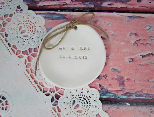 MR & MRS Wedding ring dish with your wedding date - Ceramics By Orly  - 1
