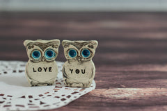 Owls Wedding cake topper - Je t'aime Cute cake topper - Ceramics By Orly  - 2
