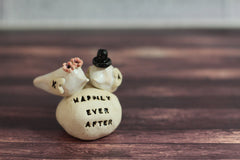 Wedding cake topper Custom love birds - Happily ever after Personalized wedding cake topper - Ceramics By Orly  - 3