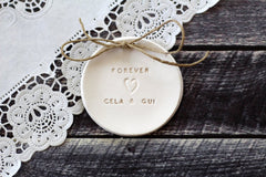 Forever Wedding ring dish with your names - Ceramics By Orly  - 2