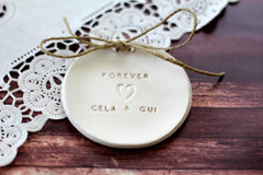 Forever Wedding ring dish with your names - Ceramics By Orly  - 3