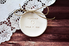 Forever Wedding ring dish with your names - Ceramics By Orly  - 4