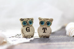 Personalized owls Wedding cake topper - a pair of custom owls cake topper - Ceramics By Orly  - 4