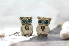 Personalized owls Wedding cake topper - a pair of custom owls cake topper - Ceramics By Orly  - 3
