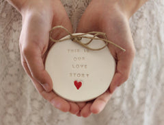 Wedding ring dish – This is our love story Ring bearer Wedding Ring pillow - Ceramics By Orly  - 1