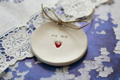 Wedding ring bearer We Do Ring dish Wedding Ring pillow - Ceramics By Orly  - 5
