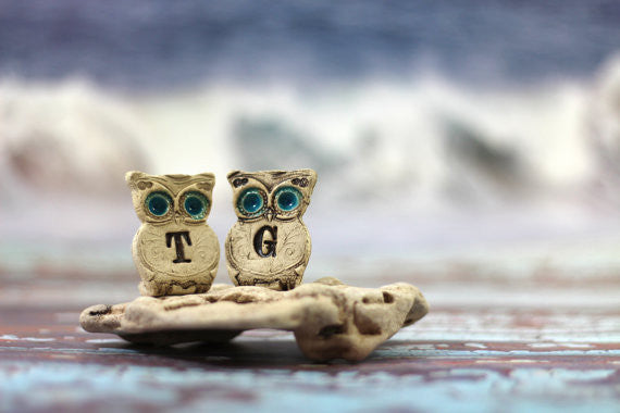 Personalized owls Wedding cake topper - a pair of custom owls cake topper - Ceramics By Orly  - 1