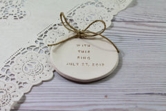 Personalized wedding ring dish With this ring alternative wedding Ring pillow - Ceramics By Orly  - 3