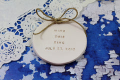 Personalized wedding ring dish With this ring alternative wedding Ring pillow - Ceramics By Orly  - 2
