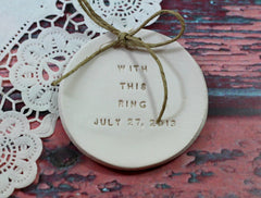 Personalized wedding ring dish With this ring alternative wedding Ring pillow - Ceramics By Orly  - 1