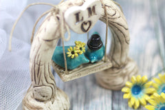 Swing wedding cake topper A pair of ceramic love birds swings under their love tree - Ceramics By Orly  - 4