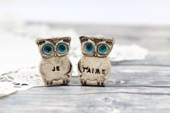 Owls Wedding cake topper - Je t'aime Cute cake topper - Ceramics By Orly  - 1