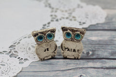 Owls Wedding cake topper - Je t'aime Cute cake topper - Ceramics By Orly  - 5
