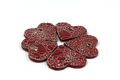 Ceramic red heart ornaments decoration (set of 5) Gift label - Ceramics By Orly  - 5