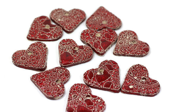 Ceramic red heart ornaments decoration (set of 5) Gift label