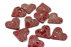 Ceramic red heart ornaments decoration (set of 5) Gift label - Ceramics By Orly  - 1