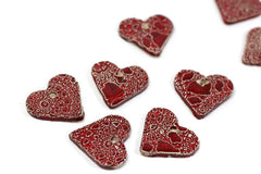 Ceramic red heart ornaments decoration (set of 5) Gift label - Ceramics By Orly  - 2