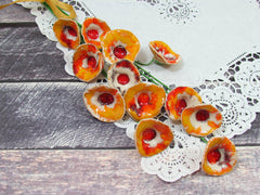 Fall decor Ceramic flowers A beautiful handmade ceramic orange, yellow and red flowers set - Ceramics By Orly  - 5