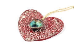 Decorate your Christmas tree with a beautiful handmade ceramic heart ornament, Wedding reception - Ceramics By Orly  - 3