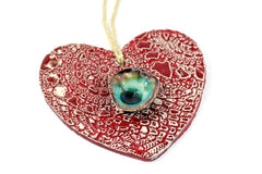 Decorate your Christmas tree with a beautiful handmade ceramic heart ornament, Wedding reception - Ceramics By Orly  - 5