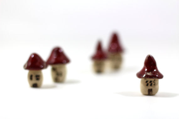 A set (of 5) rustic ceramic fantazy cottages in a color of your choice Ceramic miniature houses Home decoration Collection Little house - Ceramics By Orly  - 1