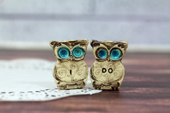 I DO owls cake topper for weddings - Ceramics By Orly  - 3