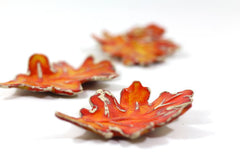Autumn leaves Ceramic fall leaves Home decor Fall decoration Rustic decor Farm house orange leaves Ceramic leaves fall leaf - Ceramics By Orly  - 5