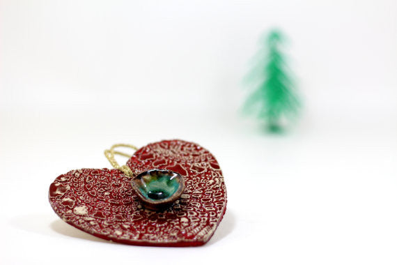 Decorate your Christmas tree with a beautiful handmade ceramic heart ornament, Wedding reception - Ceramics By Orly  - 1