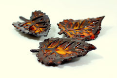 Brown and Orange ceramic leaves - Ceramics By Orly  - 2