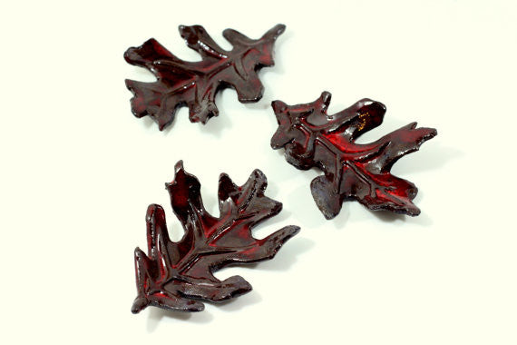 Brown and Red ceramic leaves