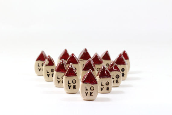 Wedding favors Red Love house - miniature houses Little rustic houses Red house Engagement gift Valentine day