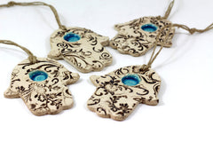 Ceramic Hamsa decoration - Beautiful handmade brown and turquoise Hamsa for Good Luck - Ceramics By Orly  - 2