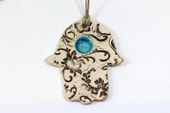 Ceramic Hamsa decoration - Beautiful handmade brown and turquoise Hamsa for Good Luck - Ceramics By Orly  - 3