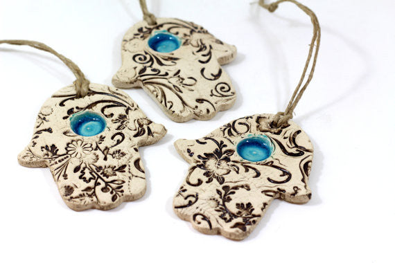 Ceramic Hamsa decoration - Beautiful handmade brown and turquoise Hamsa for Good Luck