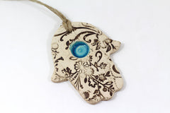 Ceramic Hamsa decoration - Beautiful handmade brown and turquoise Hamsa for Good Luck - Ceramics By Orly  - 4