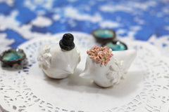 Birds Wedding Cake Topper, Personalized Wedding Cake Topper, Kissing Birds Clay Figurine - Ceramics By Orly  - 8