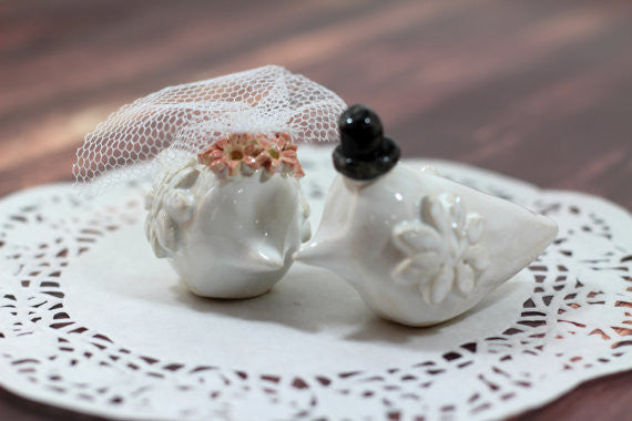 Bird Cake Topper, Custom Wedding Cake Topper Love birds Personalised cake toppers - Ceramics By Orly  - 1