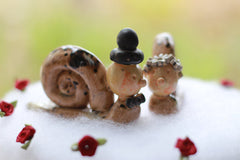 Snail cake topper Funny wedding cake topper Animal cake topper - Ceramics By Orly  - 4