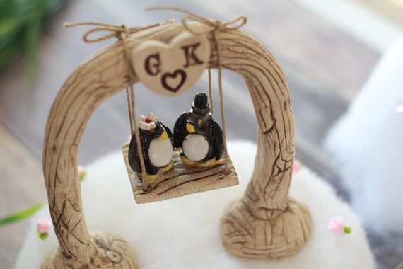 Custom wedding cake topper Bride and groom Penguin cake topper Animal wedding cake topper Funny cake topper - Ceramics By Orly  - 1