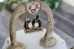 Custom wedding cake topper Bride and groom Penguin cake topper Animal wedding cake topper Funny cake topper - Ceramics By Orly  - 2