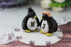 Personalized Wedding cake topper Penguin cake topper Animal cake topper Wedding cake topper Bride and groom - Ceramics By Orly  - 2