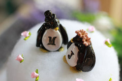 Personalized Wedding cake topper Penguin cake topper Animal cake topper Wedding cake topper Bride and groom - Ceramics By Orly  - 5